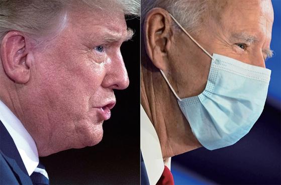11월 3일 미국 대선에 나선 도널드 트럼프(왼쪽)와 조 바이든. / 사진:AFP=연합뉴스