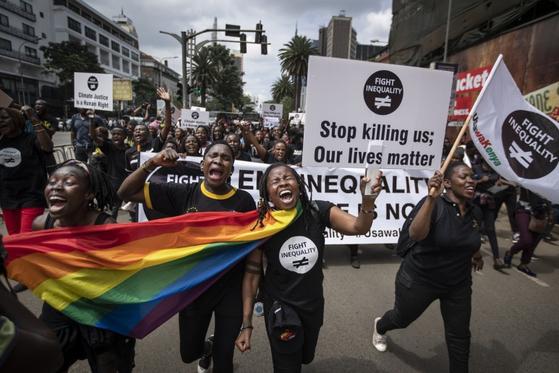 지난 1월 케냐 나이로비의 시위대 [AP=연합뉴스]