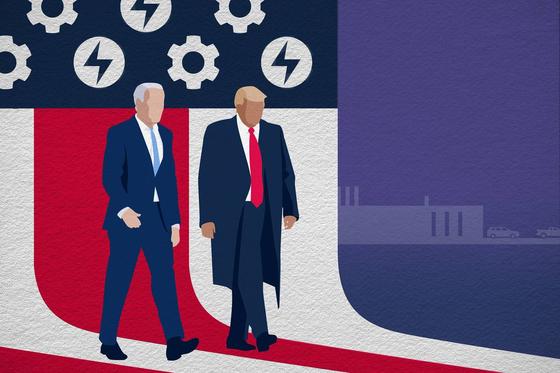 11월 3일 대선의 두 주인공: 도널드 트럼프(오른쪽) 대통령과 조 바이든 민주당 후보. [폴리티코]
