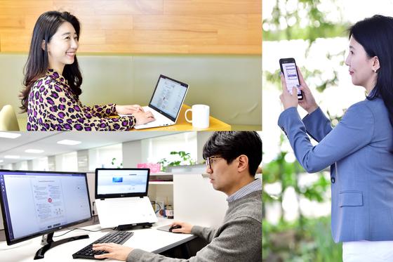 LG화학 직원들이 마이크로소프트의 메신저 기반 협업 소프트웨어인 '팀즈(Teams)'로 업무를 하는 모습. LG화학은 지난 4월부터 전 세계 사무기술직 1만8500명이 팀즈 기반으로 일하고 있다. 사진 LG화학