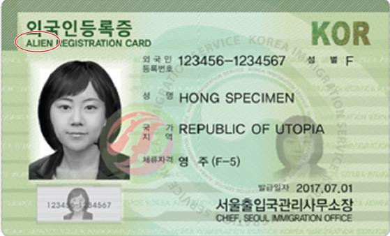 법무부가 외국인등록증의 영문 표기명을 'Alien Registration Card'에서 'Residence Card'로 변경하는 출입국관리법 시행규칙 개정안을 오는 5일 입법 예고한다고 밝혔다.   이는 에일리언에 '외국인'이라는 뜻 외에 '외계인'이라는 의미가 있어 외국인에 대한 부정적·차별적인 인식을 심어줄 수 있다는 지적이 나온 데 따른 것이다.   사진은 현행 외국인등록증 견본. 법무부