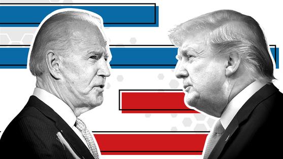 민주당 조 바이든 후보(왼쪽)와 도널드 트럼프 현 대통령. [사진 BBC]