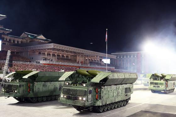 지난달 10일 열린 북한 노동당 창건 75주년 기념 열병식. 노동신문=뉴스1