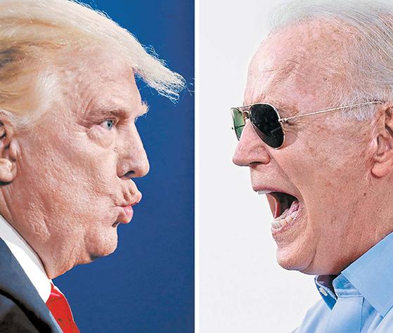 3일(현지시간) 미국 대선 개표가 진행 중인 가운데 도널드 트럼프 대통령(왼쪽)이 주요 6개 경합주 가운데 5곳에서 조 바이든 민주당 후보에 앞서고 있다. [EPA·AFP=연합뉴스]