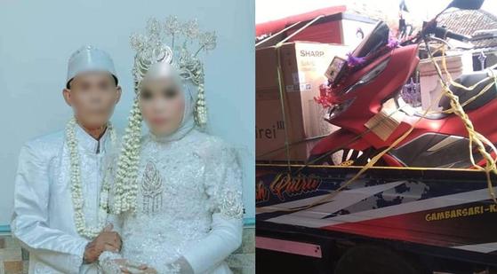61세의 나이차를 극복하고 결혼했지만 결국 파경을 맞은 인도네시아 아바 사르나(78·왼쪽)와 노니 나비타(17). 오른쪽 사진은 신랑 측이 신부측에 지참금으로 보낸 오토바이. [사진 인스타그램 캡처]