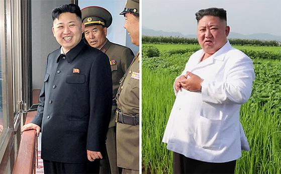김정은 북한 국무위원장의 2012년(왼쪽)과 최근(오른쪽) 모습. 8년 전 90㎏이었고 매년 6~7㎏씩 증가, 지금은 140㎏대이지만 건강엔 큰 문제가 없다고 국가정보원은 추정했다. [연합뉴스]