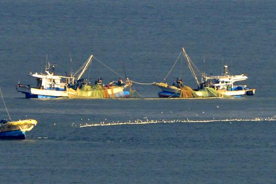 코로나19 여파로 외국인 선원이 부족해진 어선들끼리 불법체류자 신고 공방전이 일어나 목포해경이 조사에 나섰다. 사진은 지난 4일 경북 포항시 영일만 앞 바다에서 조업 중인 어선들. [뉴스1]