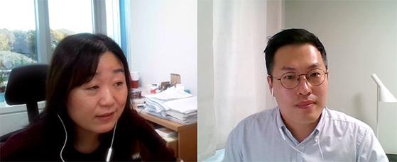 3일 줌(Zoom)을 통해 미·중 디지털패권 경쟁 토론회에 참석 중인 김성옥 KISDI 연구위원(좌), 연원호 KIEP 연구위원(우).