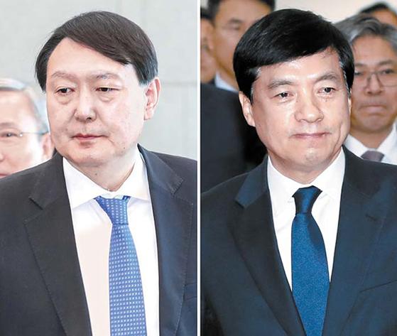 이성윤 서울중앙지검장(오른쪽)과 윤석열 검찰총장(왼쪽) [뉴스1·연합뉴스]