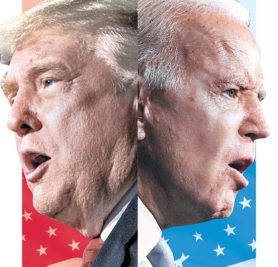 도널드 트럼프 미국 대통령(왼쪽)과 조 바이든 민주당 대선 후보. [중앙일보]