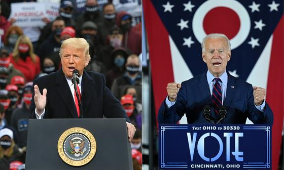 미국 대선에 출마한 공화당 후보 도널드 트럼프 미국 대통령(왼쪽)과 조 바이든 민주당 후보. AFP=연합뉴스