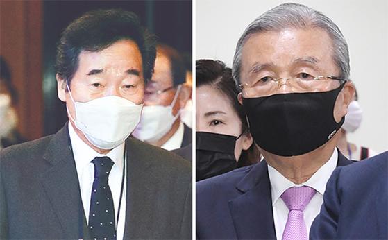 이낙연 민주당 대표(왼쪽)가 5일 국제금융컨퍼런스에 참석했다. 오른쪽은 '약자와의 동행위'에 참석한 국민의힘 김종인 비대위원장. 오종택 기자
