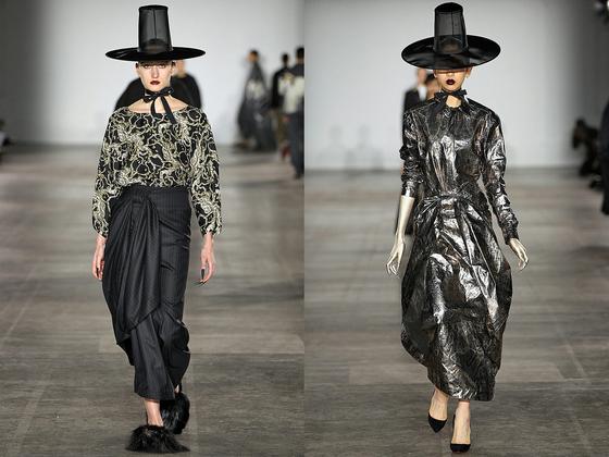 영국 디자이너 크러칠리가 2019년 '런던패션위크 AW'때 선보인 한국 '갓' 패션. [사진 에드워드 크러칠리]