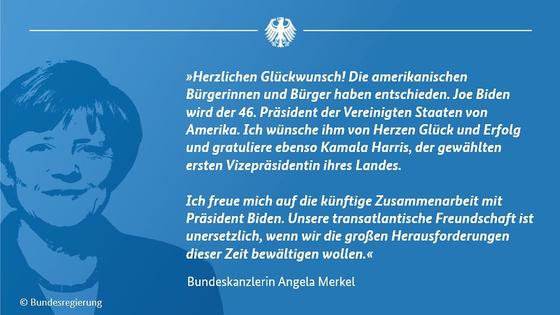 앙겔라 메르켈 총리가 인스타에 올린 바이든 당선 축하 메시지. [메르켈 총리 인스타그램 캡처]