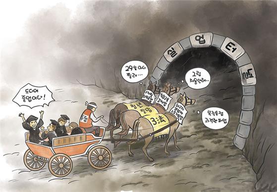 전경련이 발표한 '청년절망 3법 만평'.