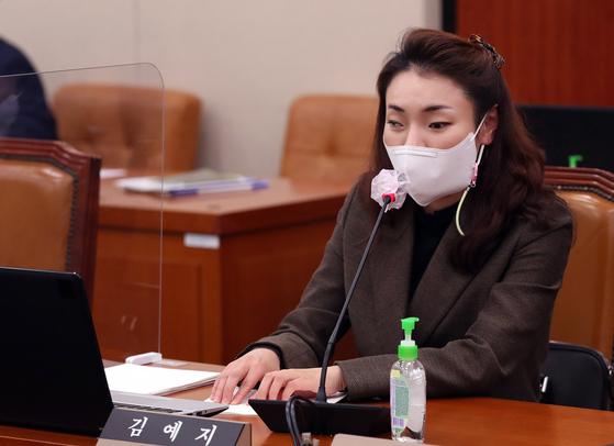 질의하는 국민의힘 김예지 의원. 연합뉴스
