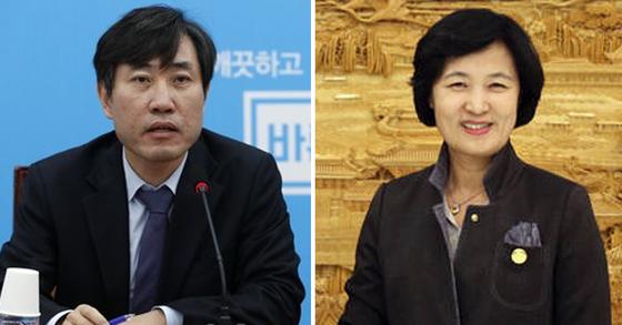 하태경 국민의힘 의원(左)과 추미애 법무부 장관(右). [뉴스1ㆍ연합뉴스]