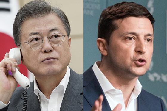 문재인 대통령(왼쪽)과 볼로디미르 젤렌스키 우크라이나 대통령. [사진 청와대], 연합뉴스