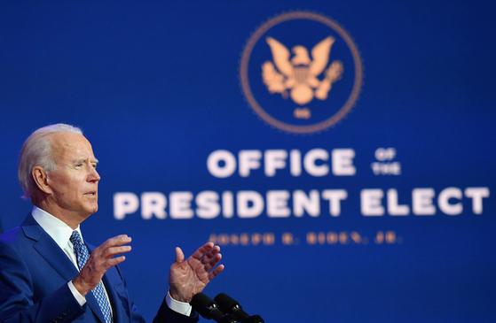 지난 9일 델라웨어주 웰밍턴에서 연설 중인 조 바이든 미국 대통령 당선인. AFP=연합뉴스