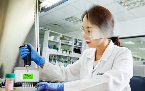 셀트리온 연구진이 코로나19 치료제 개발을 위한 항체 결함력 시험을 하는 모습. [사진 셀트리온]