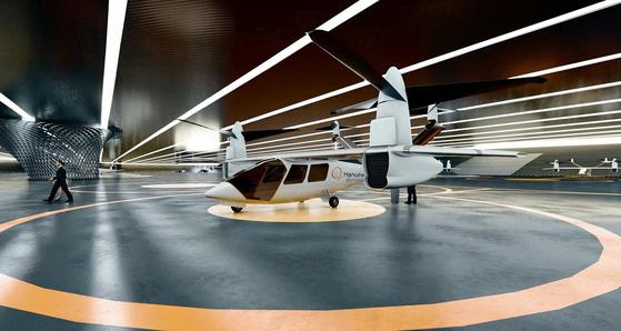 한화시스템이 미국 오버에어와 공동 개발 중인 개인비행체(PAV) '버터플라이'의 실물 모형(목업·mock-up)을 국내외에 처음으로 선보였다. 연합뉴스