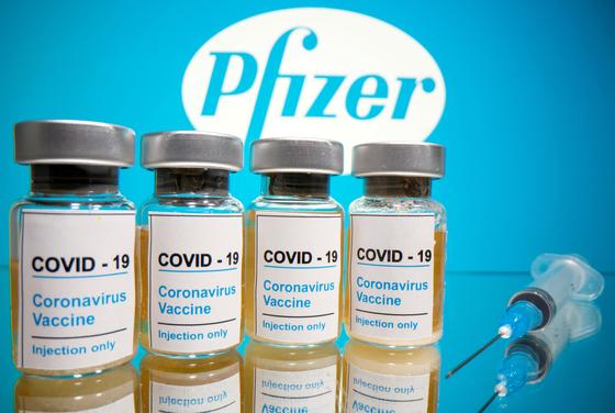 미국 제약사 화이자가 개발 중인 백신 후보 물질. [로이터=연합뉴스]