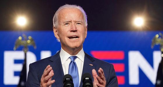 조 바이든 전 부통령이 6일(현지시간) 델라웨어 윌밍턴에서 대국민 연설을 하고 있다. [로이터=연합뉴스]