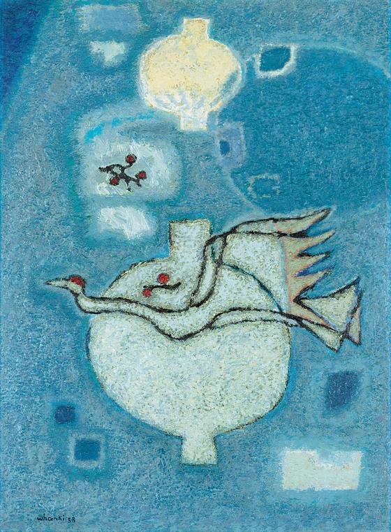 김환기 ,항아리와 날으는 새, oil on canvas, 2.7x53cm, 1958. 추정가 9억원 ~ 17억 원. [사진 케이옥션]