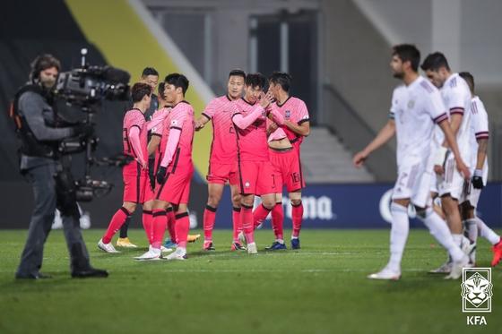 14일 오스트리아 비너 노이슈타트 슈타디온에서 열린 한국과 멕시코의 축구국가대표팀 A매치. 대한축구협회 제공