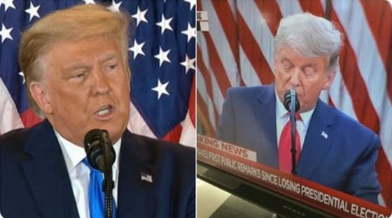 트럼프 대통령의 노란 머리 (왼쪽)과 백색 센 머리. [트위터 캡처]