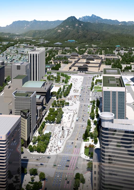 서울시는 16일 광화문광장 동쪽(주한 미국대사관 앞 도로)을 넓히는 공사에 착수했다고 밝혔다. 광화문광장 조감도. [사진 서울시]
