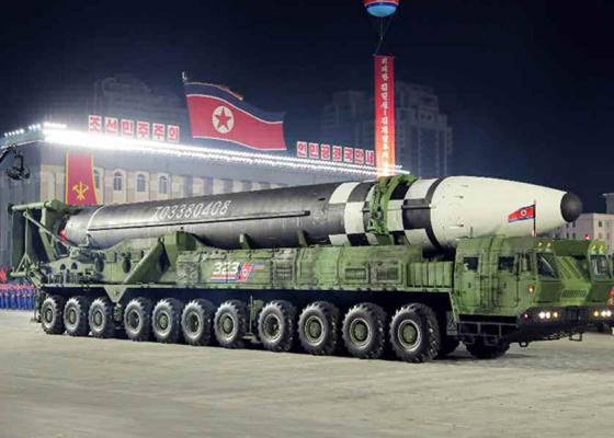 북한이 지난달 10일 노동당 창건 75주년 기념 열병식에서 공개한 신형 대륙간탄도미사일(ICBM).[연합뉴스]
