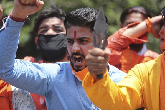 지난 6월 인도에서 열린 중국 반대 시위 [AP=연합뉴스]