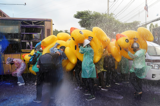러버덕은 공권력에 대한 조롱의 의미를 담고 있다. 노란색은 태국 왕실을 상징하는 색이다. 물대포를 막는 용도로도 사용된다. 연합뉴스