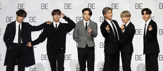 20일 서울 동대문디자인플라자에서 열린 새 앨범 'BE' 발매 기념 글로벌 기자간담회에 참석한 방탄소년단. 김상선 기자