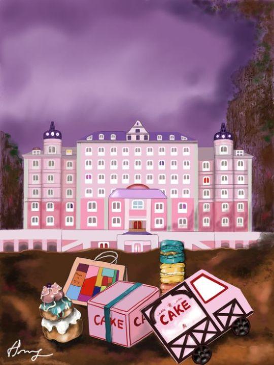영화 '그랜드 부다페스트 호텔'에는 사랑스런 상자에 담긴 케익이 등장해서 인기를 끌었다. 아이패드7.프로크리에이트. [그림 홍미옥]