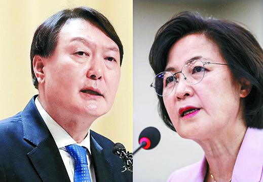 윤석열 검찰총장(왼쪽)과 추미애 법무부 장관. [연합뉴스]