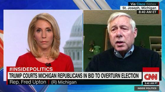 22일(현지시간) CNN에 출연한 프레드 업튼 공화당(미시건) 연방 하원의원. [CNN 캡처]
