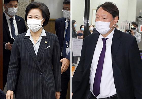 추미애 법무부 장관(왼쪽)과 윤석열 검찰총장. 중앙포토