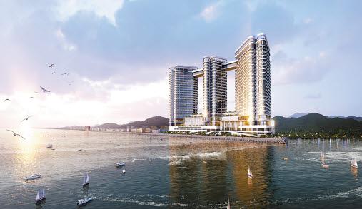 반얀트리 그룹이 강원도 속초시에 레지던스 호텔 브랜드인 '카시아'를 선보인다. 사진은 대포동 937번지 일원에 조성되는 '카시아 속초'의 야경투시도.