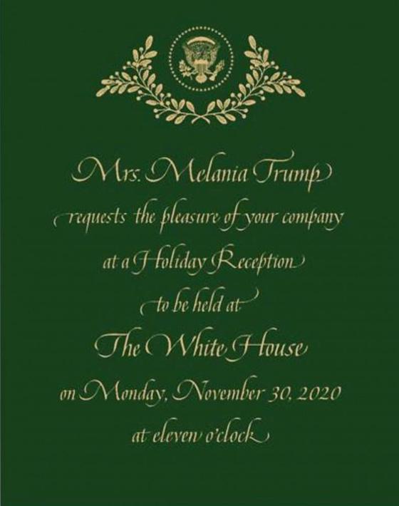 멜라니아 여사가 발송한 이달 30일 백악관에서 열리는 파티 초청장.[트위터 캡처]