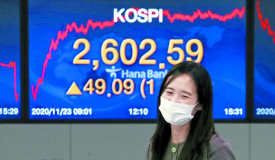 코스피가 외국인의 순매수 행렬에 힘입어 사상 최고치를 기록했다. 23일 서울 하나은행 명동점 딜링룸 전광판에 코스피지수가 전 거래일보다 49.09포인트(1.92%) 오른 2602.59를 나타내고 있다. [뉴스1]