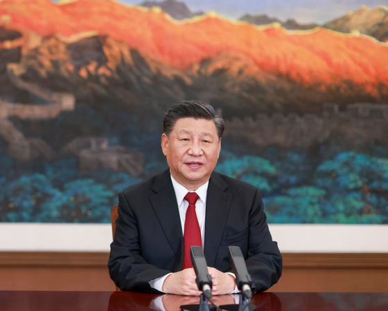 19일 아시아태평양경제협력체(APEC) CEO 화상대화를 하고 있는 시진핑 중국 국가주석. [신화=연합뉴스]