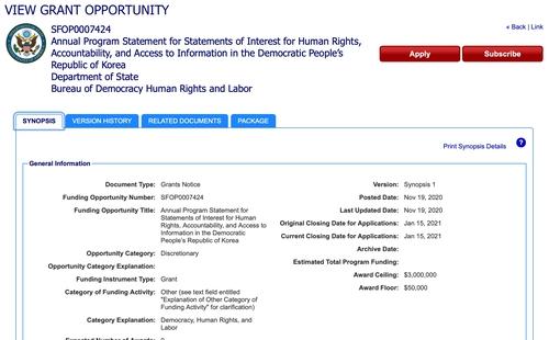 미 국무부가 24일(현지시간) 북한 인권 관련 단체들에게 사업비를 지원하겠다고 공고했다. [미 국고보조금 홈페이지=연합뉴스]