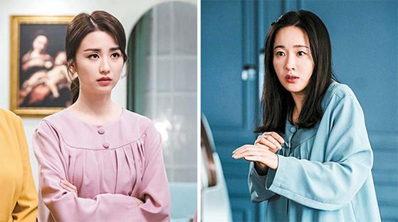 드라마 '산후조리원'에서 여왕벌로 군림하는 '사랑이 엄마'(박하선·왼쪽)와 최고령 산모로 고통받는 '딱풀이 엄마'(엄지원·오른쪽). [사진 tvN]