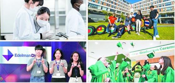 인천글로벌캠퍼스에는 5개 외국 대학이 운영 중이다. 사진은 왼쪽 위부터 시계방향으로 겐트대 글로벌캠퍼스, 한국뉴욕주립대, 한국조지메이슨대, 유타대 아시아캠퍼스.  [사진 인천글로벌캠퍼스]