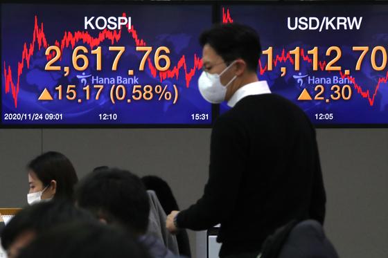 24일 오후 서울 중구 명동 하나은행 딜링룸 전광판에 코스피지수가 전일대비 15.17포인트(0.58%)상승한 2,617.76을 나타내고 있다. 뉴스1