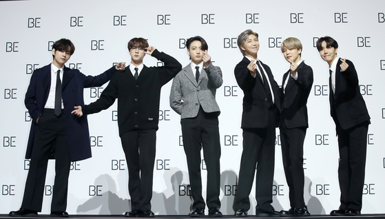 지난달 20일 서울 동대문구 DDP에서 열린 새 앨범 'BE' 발매기념 기자회견에서 포즈를 취하는 방탄소년단(BTS). [뉴스1]
