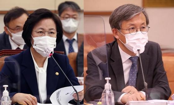 추미애 법무부 장관(왼쪽), 한동수 대검찰청 감찰본부장 [뉴시스·연합뉴스]
