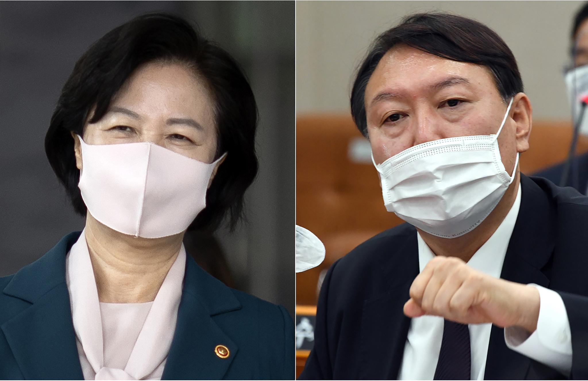 추미애 법무부 장관과 윤석열 검찰총장. 연합뉴스